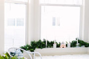 A room set up with holiday decor.