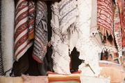 Pillows, blankets, and rugs at the souks in Marrakech