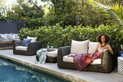 Textile designer Bridgid Coulter lounges by her pool in Los Angeles