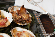 Baked oysters at Sam Masters Fat Tuesday Party
