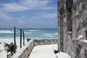 The view of the beach from Coqui Coqui in Tulum, Mexico.