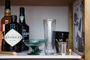 Assorted glassware and bar accessories on Katy Skelton's Admiral's tray
