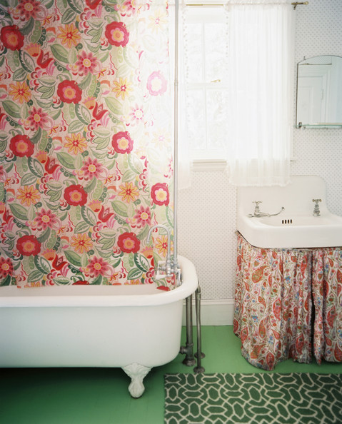 Orange Floral Shower Curtain.  Country Bathroom Photos 12 of 98