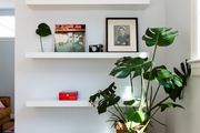 A minimalist shelf in the dining room.