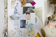 A mood board featuring swatches of wallpaper