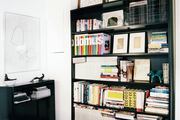 Black bookshelves in an office space