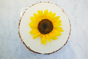 A sunflower atop a beautiful cake