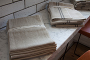 Table linens arranged on a stone surface
