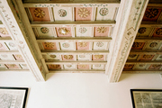 A colorful patterned ceiling