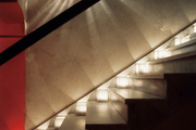 Stairs lit by candlelight