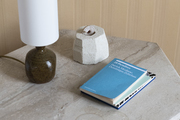 A book and a lamp sit on an octagonal shaped table.