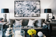 A living space in shades of gray, white, and black