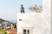 Mirabelle Marden admiring the view of Hydra, Greece