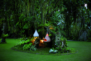 Lush landscaping on the Dedon Island grounds