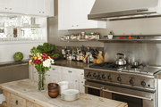 In Emily Meyer's kitchen, an antique console doubles as a dining table