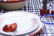 Red, white, and blue tableware on a graphic tablecloth