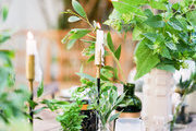 A detail of greenery on a rustic tablescape.