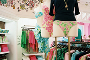Colorful Lilly Pulitzer clothing on display