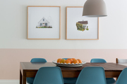 A contemporary dining room with Scandinavian vibes.