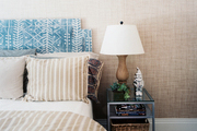 Tan and blue colors in a guest room