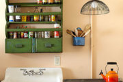 A detail of an antique-style kitchen in a New Orleans home