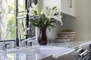 A farmhouse sink with commercial faucet in a light-filled L.A. kitchen