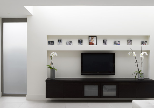 Recessed Media Shelves on Eclectic House Design