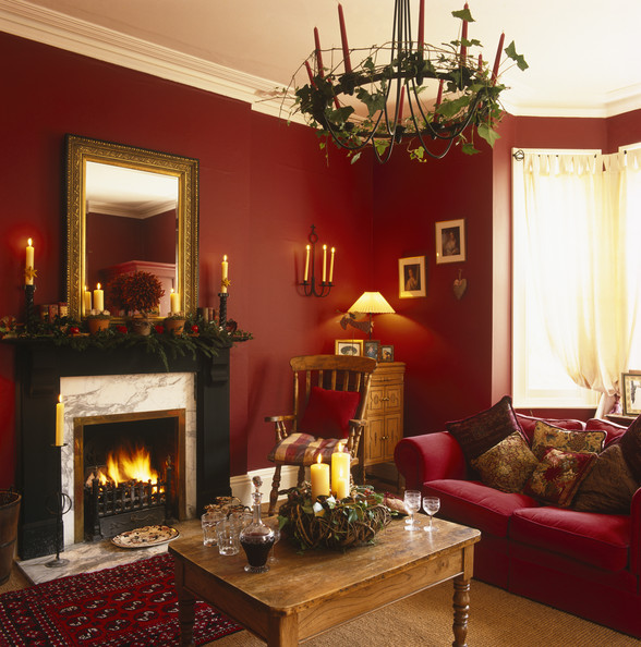 Red And Gold Christmas Decorations Front Rooms