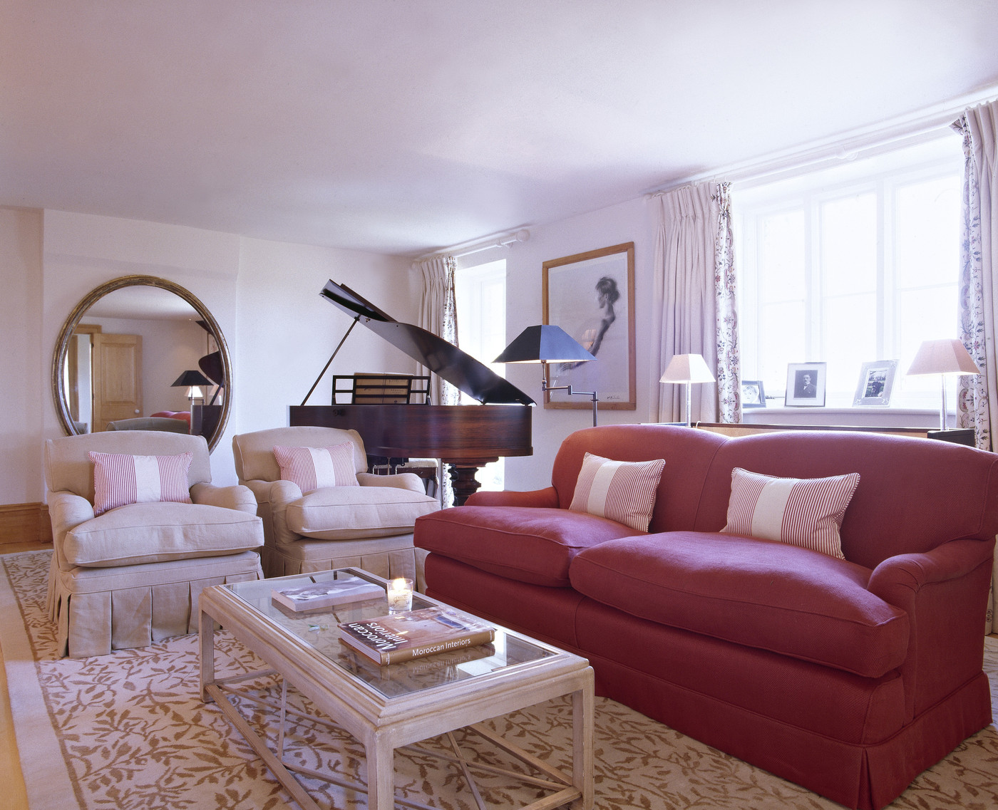 Red Living Room: Red-White Contemporary-Traditional Living Room