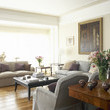Beige-Gray Traditional Family Room