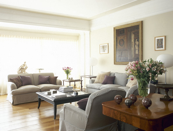 Beige Gray Traditional Family Room