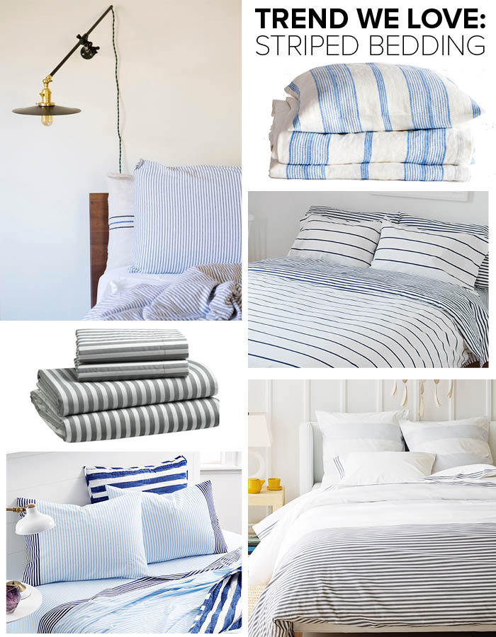 Clockwise from top left: Andrew Bird and Katherine Tsina's L.A. Home (photographed by Coral von Zumwalt); striped linen bedding: starting at $36, Zara Home; Sailor + Regatta duvet cover: $160, Unison; Fouta yarn-dyed striped bedding: starting at $68; Serena & Lily; novelty print sheet set by Whim by Martha Stewart: starting at $50; Macy's; striped sheet set: starting at $59, West Elm