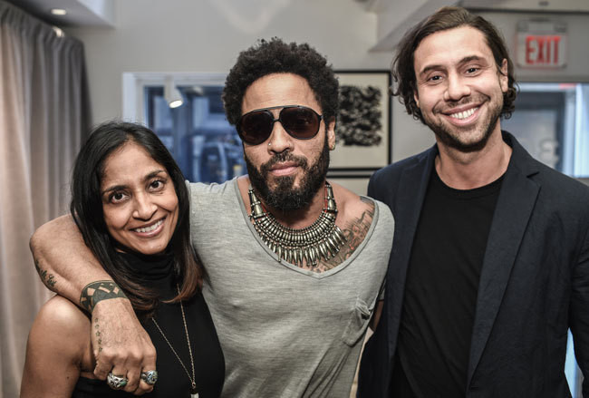 CB2 Senior Director of Marketing Alicia Waters with Kravitz and CB2 Managing Director Ryan Turf.