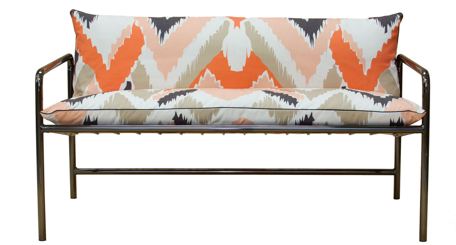 Trine's Tube+Grid love seat upholstered with fabric by Wolfum.
