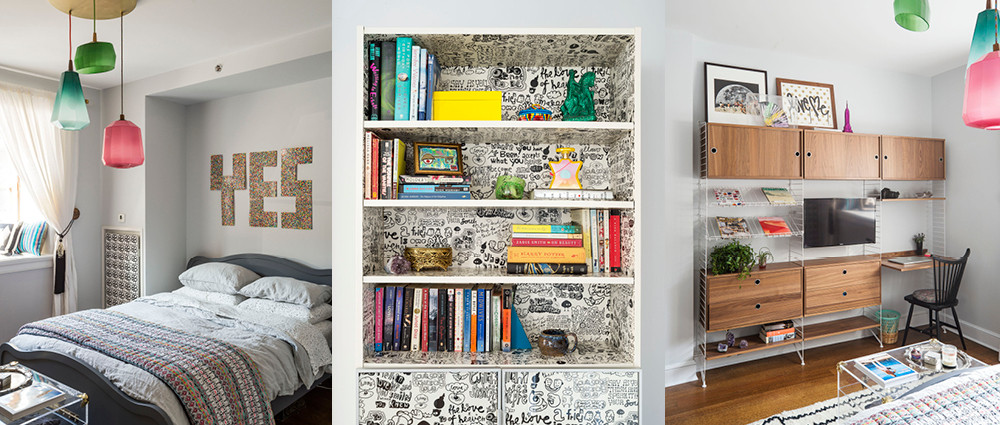 In the downstairs bedroom, a Novogratz-designed bed for CB2 sits under a piece of custom artwork. A bookcase doubles as art. A String System storage unit provides ample space for a low-key workstation.
