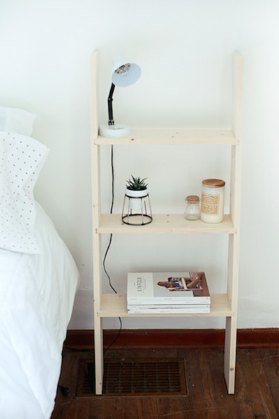 ladder shelf - modern nightstand alternatives to upgrade your Ladder Nightstand