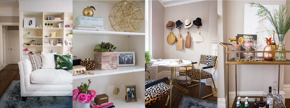 Keeping the major furnishings neutral, allowed Murphy and homeowner Lindsay Ulrey to have fun with accessories in mixed metallics, and botanical and animal prints.
