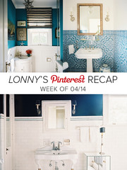 Lonny's Top Pins of the Week: Blue and White Bathrooms