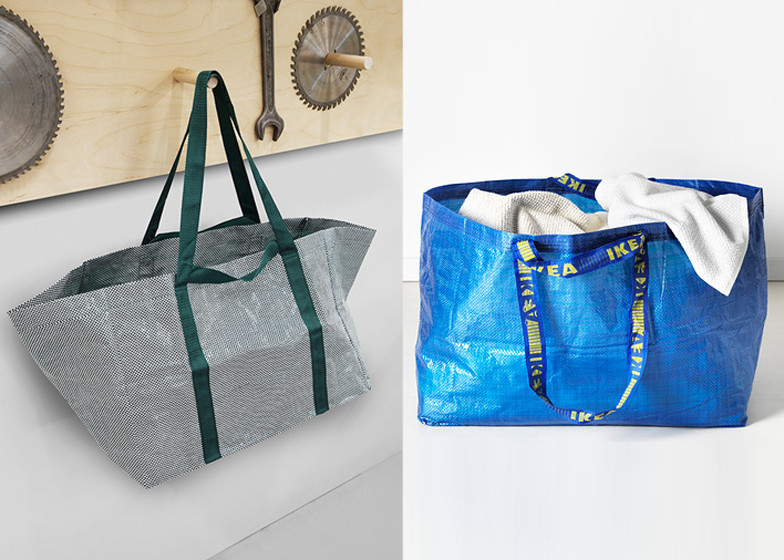 The Hay design of the Frakta bag on the left and the current iteration on the right.
