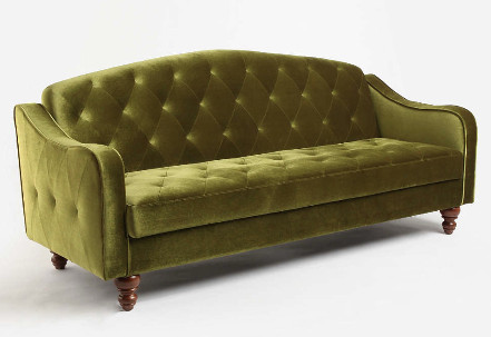 green velvet tufted sleeper sofa