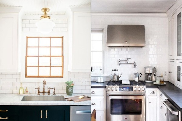 Kyong Millar's Salt Lake City TudorKitchen (left) and the Ohio cook space of @House214Design.