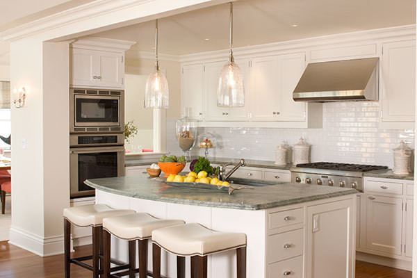 The kitchen of Ocean House's Penthouse Suite.