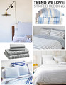 Clockwise from top left: Andrew Bird and Katherine Tsina's L.A. Home(photographed by Coral von Zumwalt); striped linen bedding: starting at $36, Zara Home; Sailor + Regatta duvet cover: $160, Unison; Fouta yarn-dyed striped bedding: starting at $68; Serena & Lily; novelty print sheet set by Whim by Martha Stewart: starting at $50; Macy's; striped sheet set: starting at $59,West Elm