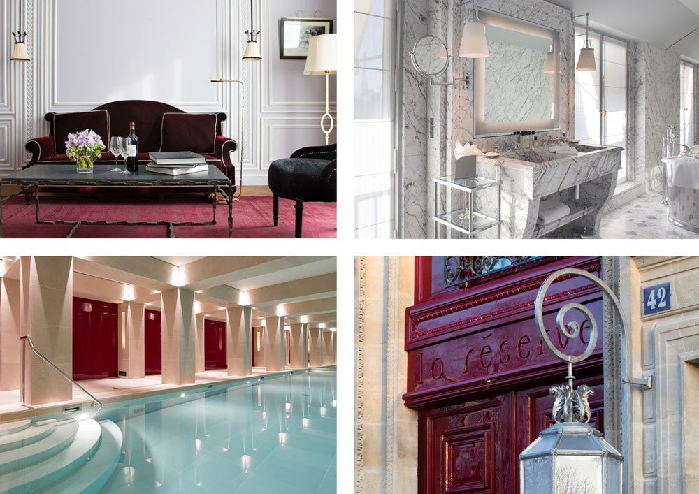 CLOCKWISE FROM TOP LEFT An en suite living area complete with velvet settee, iron coffee table, and antique accents. Generously veined marble in one master bathroom. The hotel's red-lacquered entrance. La Réserve Paris's 50-foot lap pool.