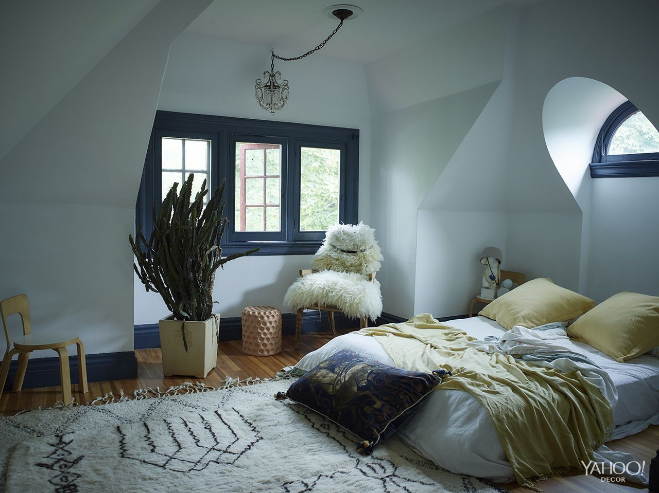 "Findlay&squot;s ""winter bedroom"" (trend alert: beds on floors)."