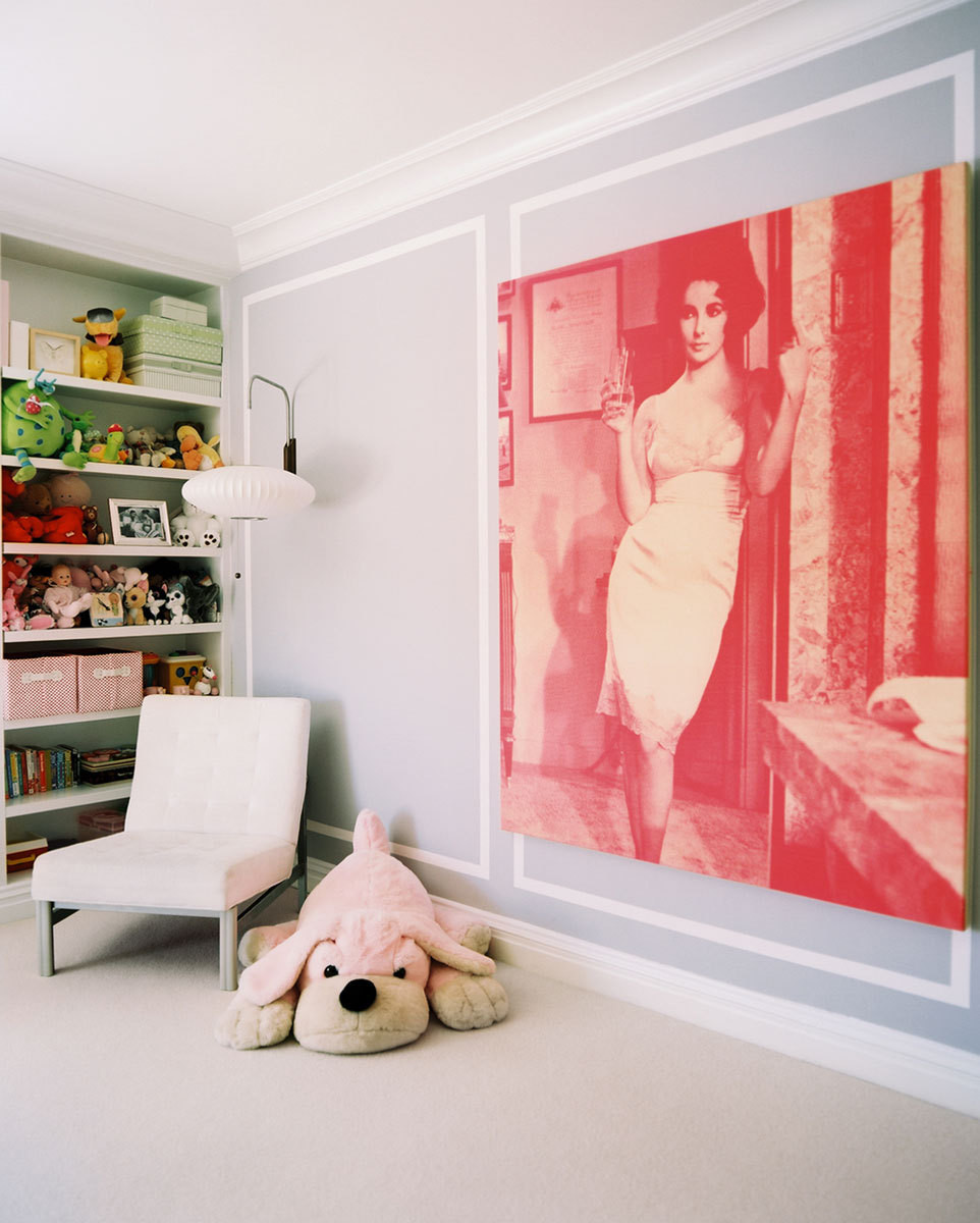 "Russell Young&squot;s portrait of Elizabeth Taylor adrons one of Georgiana&squot;s walls. ""The image is so inappropriate for a kid&squot;s room,"" says Laura, ""but the color was too good to resist."""