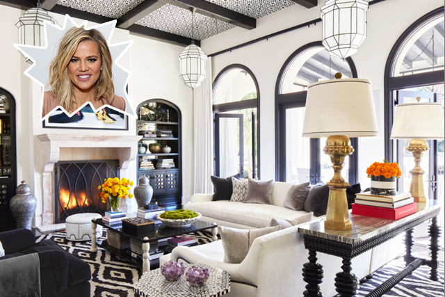 Khloe kardashian the coolest celebrity living rooms lonny - Kourtney kardashian kitchen chairs ...