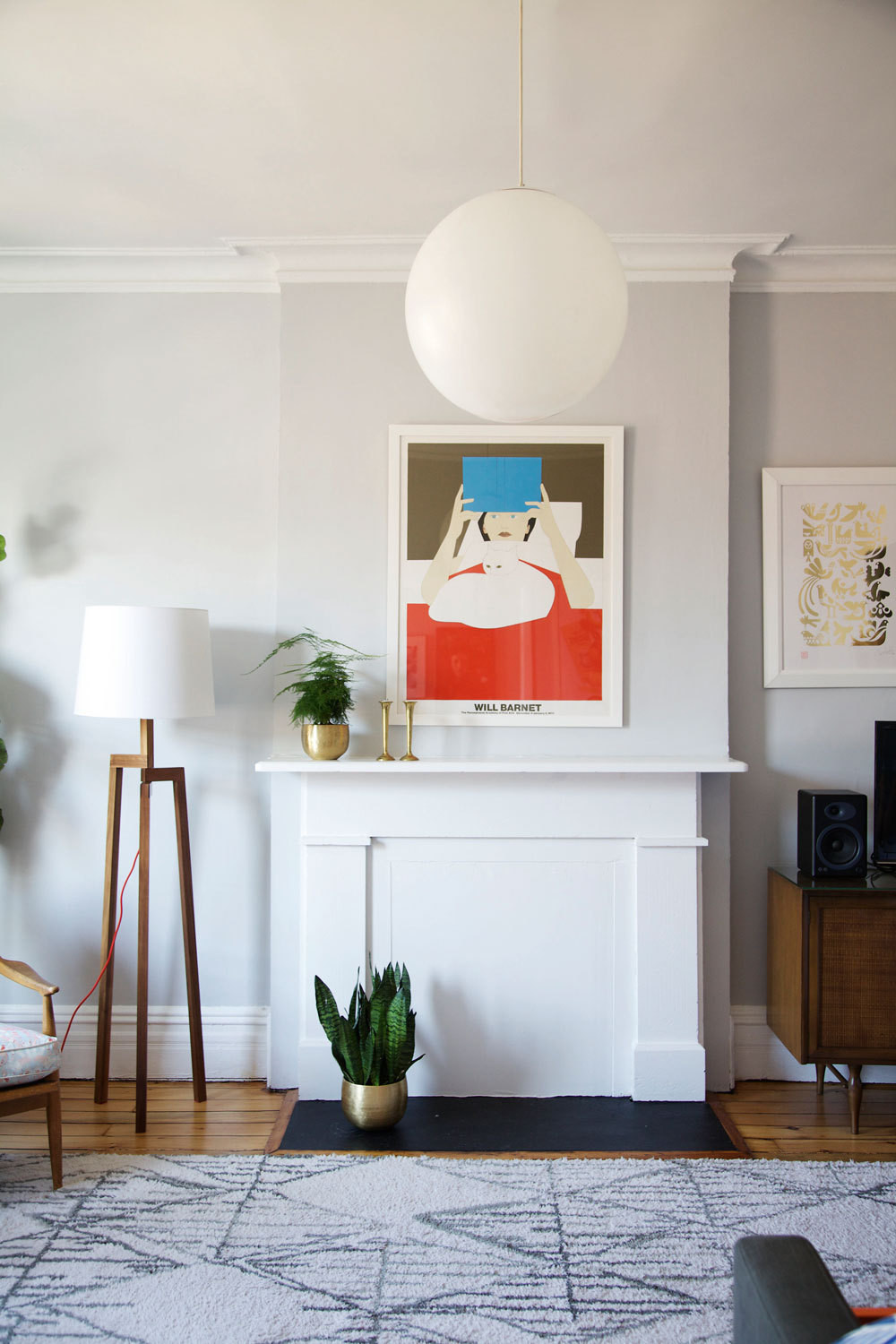 The serenely curated Brooklyn living room of illustrator Samantha Hahn.