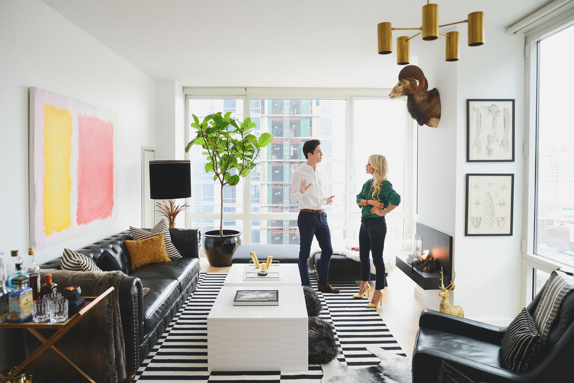 Santos and DwellStudio founder Christiane Lemieux discuss the pattern, texture, and color on display in the living room.