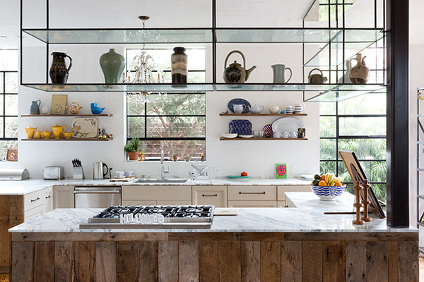 suspended shelves cool kitchen ideas lonny rh lonny com  cool kitchen shelves
